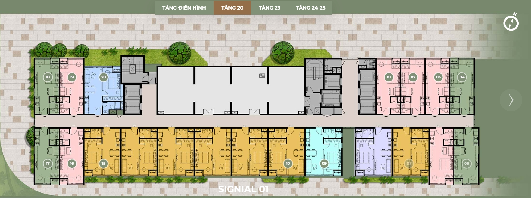 Mặt bằng thiết kế dự án căn hộ Signial quận 7