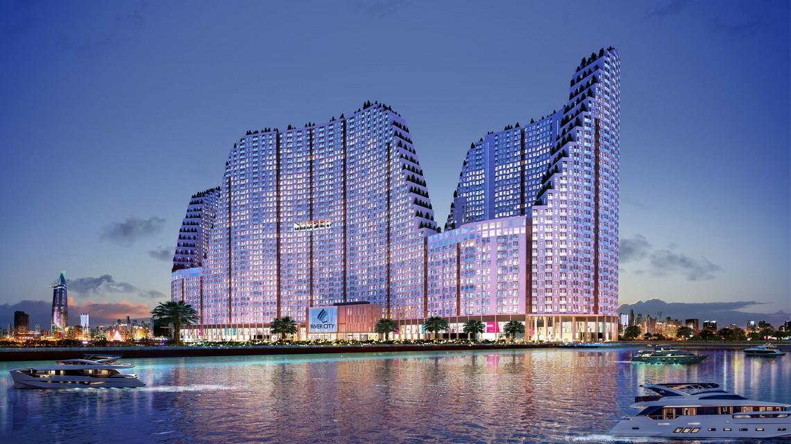 Phối cảnh tổng thể dự án căn hộ chung cư River City Quận 7 Đường Đào Trí chủ đầu tư Phát Đạt