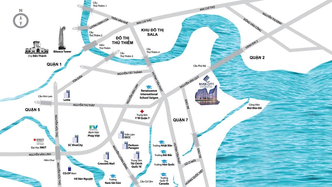 Vị trí địa chỉ dự án căn hộ chung cư River City Quận 7 Đường Đào Trí chủ đầu tư Phát Đạt