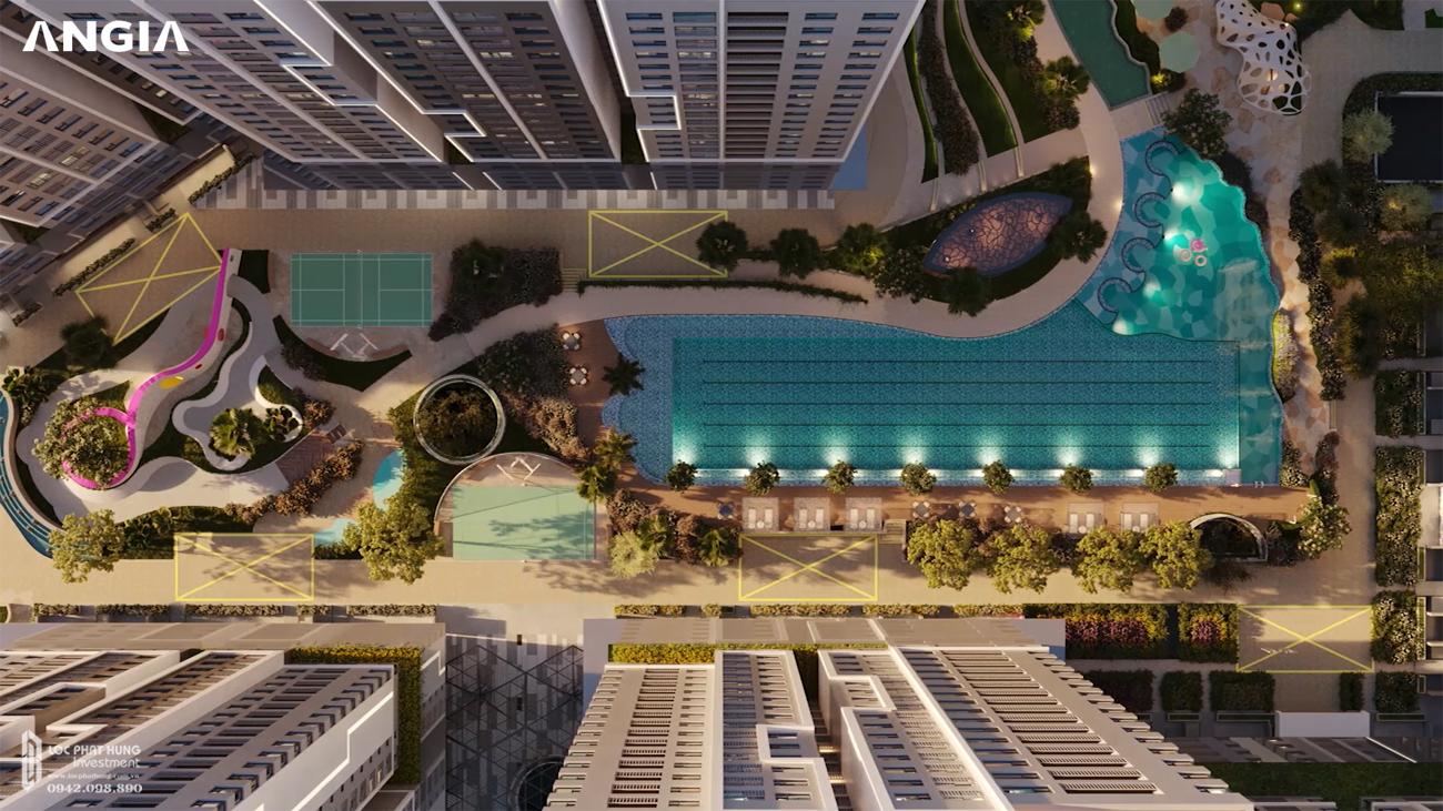 West Gate mang đến cho cư dân cuộc sống hiện đại với hồ bơi, sân tennis,…