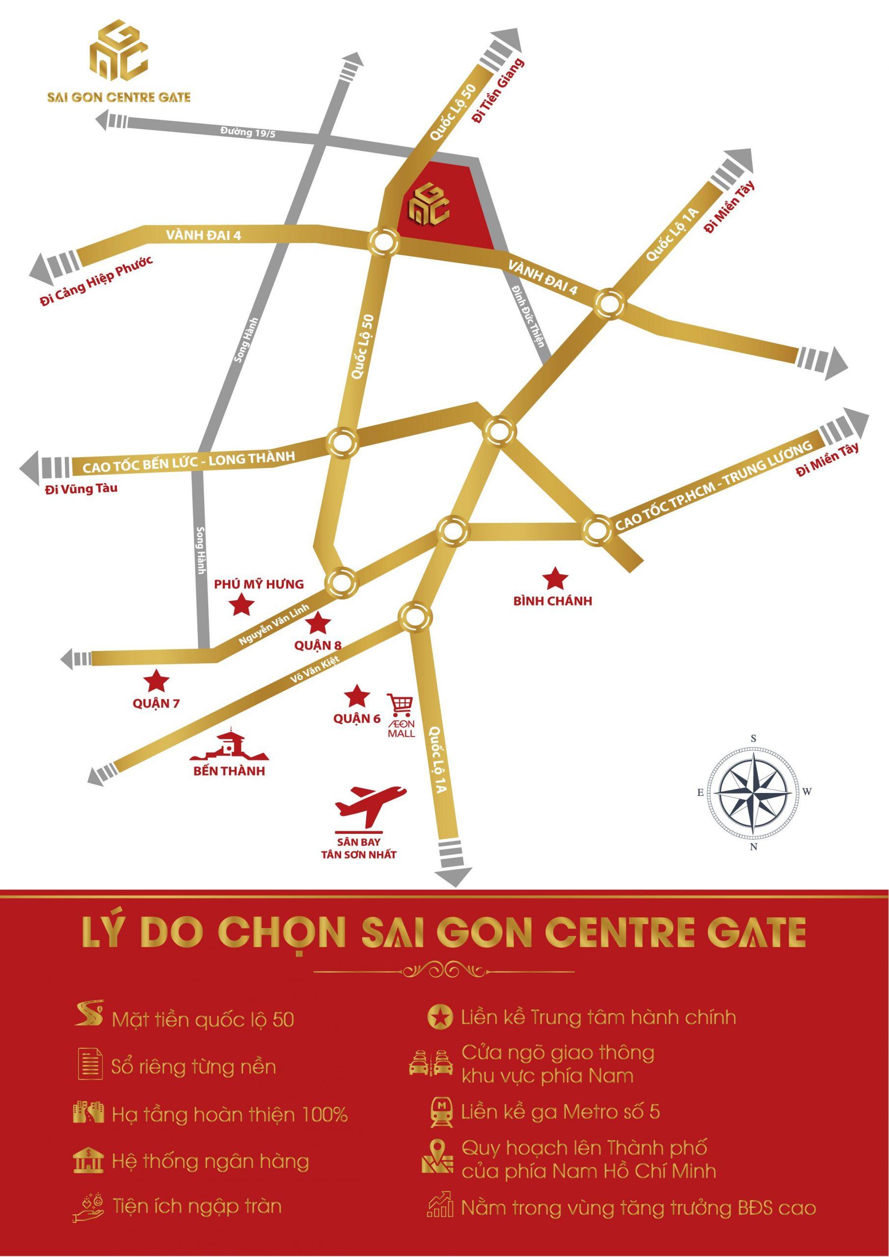 Vị trí dự án Sài Gòn Centre Gate Long An