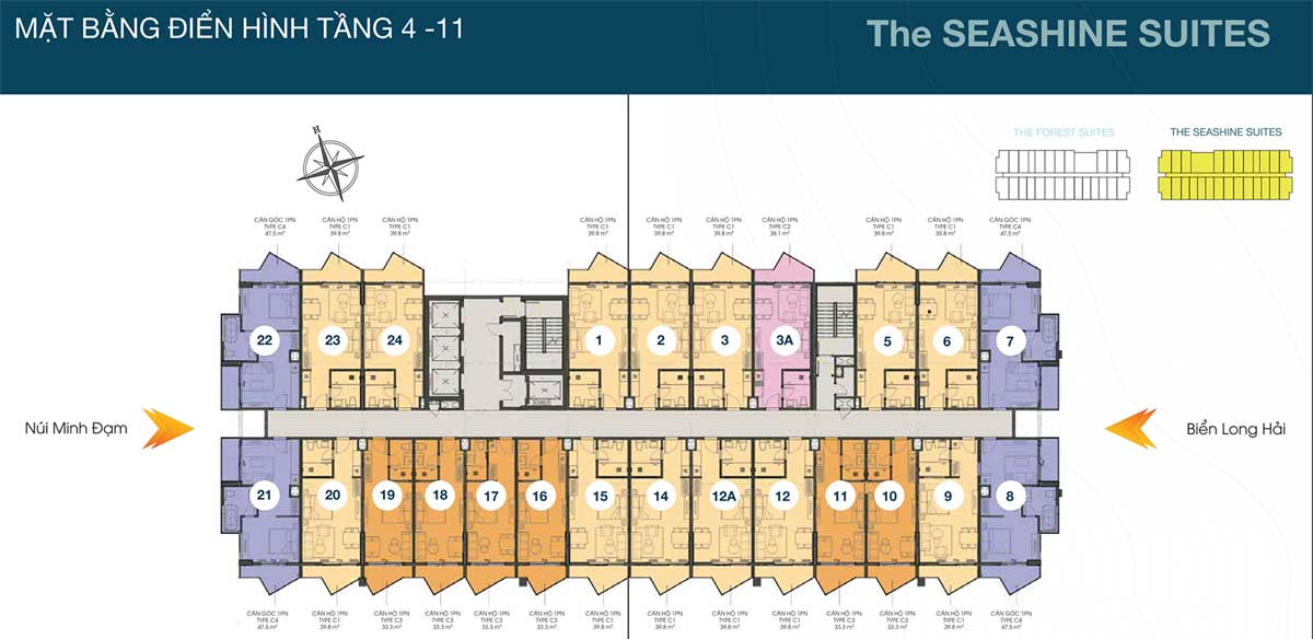 Mặt bằng Tầng Block The Seashine Suites Căn hộ The Apus Long Hải